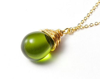Green Teardrop Necklace. Green glass necklace. Wire wrapped Necklace. Gold and green necklace. Wire wrapped teardrop. Czech Glass necklace.