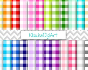 Rainbow and Pastel Gingham Checks Digital Printable Papers for Personal and Commercial Use (0040)