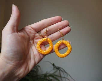 Marigold Orange - Textured Hoop Polymerclay Earrings