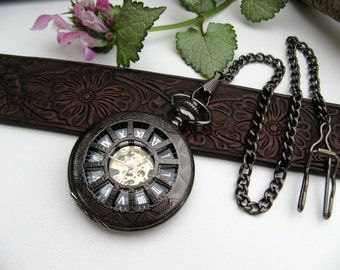 Victorian Black Pocket Watch, Pocket Watch Chain, Men's Watch, Groomsmen Gift, Engravable - Item MPW160