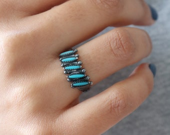 Vintage Turquoise Ring - Native American Turquoise Ring - Size 6.5