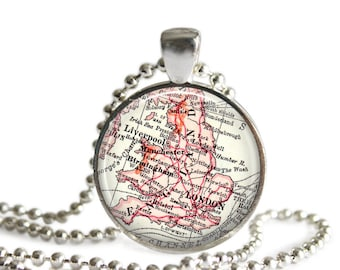 England, United Kingdom Map Jewelry, England necklace, London map necklace for holidays, friend gift, London Gift, England Gift