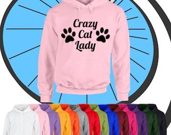 Adultos con capucha Crazy Cat Lady - amante de los animales lindo gatito Kitty - damas con capucha Top - actual campana de regalo