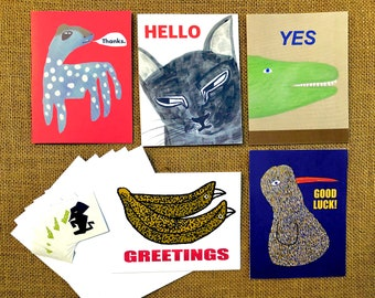 A2 notecard set (5 notecards, 5 envelops, and 5 stickers) US only shipping free!