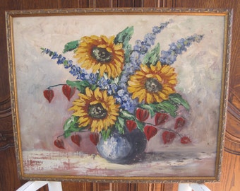 Original Oil on Canvas Floral Still Life Sunflowers Delphinium Yellow Blue Red Signed