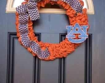Auburn Wreath, Orange Wreath with Navy Blue Chevron Bow,  Auburn Burlap Wreath,Orange Burlap Wreath