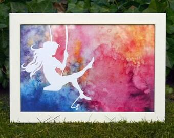 Dream Swing-poster-poster A4 print-illustration watercolor, scissor cut