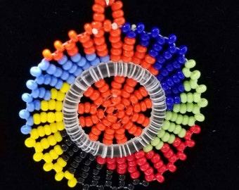Vibrant Colors Beaded Circle Earrings.
