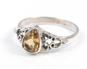 Citrine 92.5 sterling silver ring size 8 us