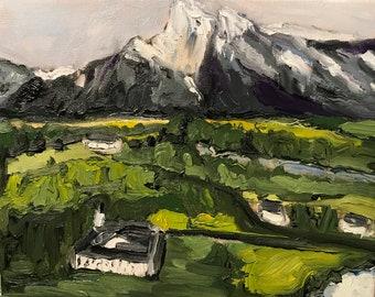Austrian Alps Original Oil Painting, 8x10 Landscape Painting, Oil on Canvas