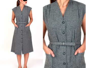 Vintage 1960s Gray Wool Sleeveless Dress with Matching Belt by Solo   Medium
