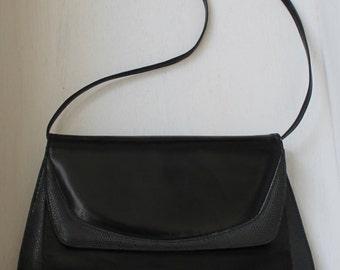 Sacoche Cuir Noir Vintage/ Sac Cuir Noir Fabio Styled in Italy Vintage / Sac à main cuir noir Vintage / Cuir Vintage / Sac Italien Vintage