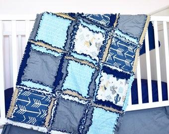 Lama crèche crèche-turquoise / gris / bleu marine Cactus literie - literie lit bébé - crèche sud-ouest - Bumperless berceau ensemble / Quilt / feuille / jupe
