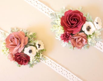Wedding Corsage, Wrist Corsage, Burgundy Wrist Corsage, Prom Corsage, Boho Wedding, Mother of the Bride Corsage, Rose Corsage, SERENDIPITY