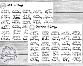 Holidays (Canadian and USA) - Planner Stickers