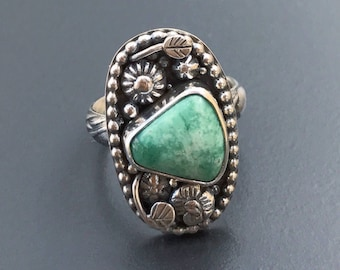 Broken Arrow  Variscite Ring, Green Stone Flower Ring Size 8 1/4 Silversmith Handcrafted Sterling Silver Floral Statement Jewelry Boho Chic