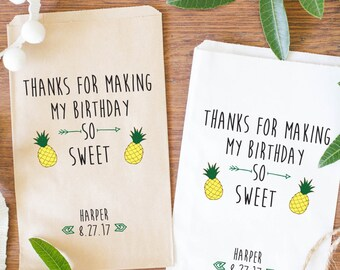 Birthday Favor Bags Customized / Hawaiian Party Favor Bags Personalized / Tropical Party Decoration-BBI-19