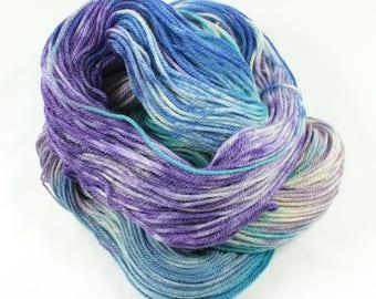 Hand dyed superwash double knit merino and tussah silk yarn