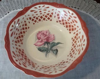 "Vintage, Homer Laughlin, G3528, Pink, Long Stem Rose, Large 9 1/2"" Serving Bowl with Decoratived Side"