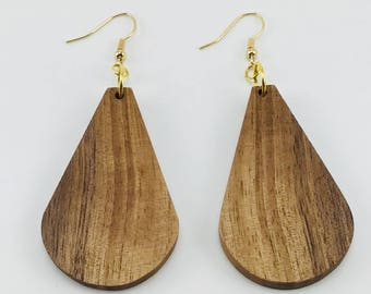 Handmade Wood Raindrop Earrings