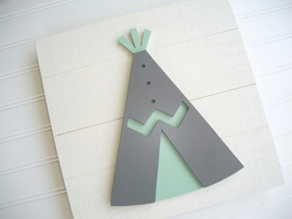 Mint and Grey Nursery . Tribal Nursery . Teepee . Teepee Room Decor . Teepee Sign  . Wood TeePee . Rustic Nursery . Woodland Decor