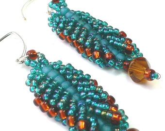 Flat spiral beadweaving tutorial and earring and bracelet Instant: Downloadable Pattern PDF File