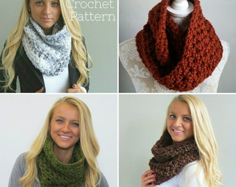 Crochet pattern bundle, 2 patterns, Crochet Infinity Scarf Pattern, Crochet Cowl Pattern, Chunky Crochet pattern, double loop infinity scarf