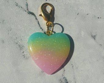 Rainbow Heart planner charm// stitch marker// zipper charm