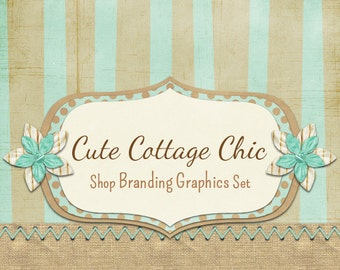 Stitch Burlap Shop Branding Banners, Avatar Icons, Business Card, Logo Label + More - 13 Premade Graphics Files - CUTE COTTAGE CHIC