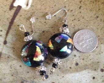 Black and rainbow lampwork bead earrings