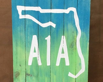 A1A painting, Florida art, Beach Pallet Wood Art, Coastal Decor, Ocean art