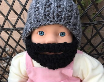 READY TO SHIP Baby Bearded Beanie - Gray Grey Hat with Black Beard 6-12 months