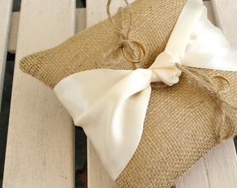 Wedding Ring Pillow Rustic Pillow, Bearer Cushion in Burlap/Hessian in Natural with Cream Knotted Ribbon