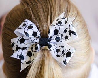 Small Soccer Ball Pinwheel Bow