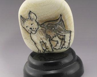 SRA Lampwork Bead OOAK Art Glass Focal Bead Lampwork Dog Bead Puppy Lover Boston Terrier Ivory Artisan Flamework Bead Heather Behrendt 6049