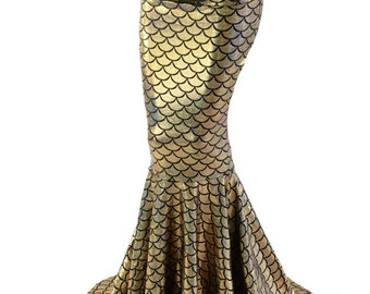High Waist Mermaid Skirt with Puddle Train in Sparkling Gold Dragon Scale 153951