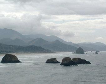Cannon Beach Photography, Oregon Coast Stormy Beach Print, Haystack Rocks Wall Art, Ocean Art, Grey Beach Decor, Beach Art, Gray Ocean Print