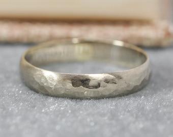 White Gold Ring, 14K Palladium White Gold 4mm Half Round Band, Hammered Matte
