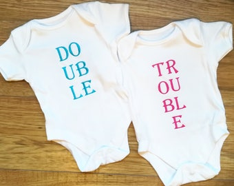 Double trouble, twin bodysuits, twin onesies, twin baby tops, twin set, baby twin gift, twin gift, new baby gift, unique baby gift