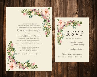 Vintage Floral Wedding Invitations; Blush Floral Wedding Invitations; Watercolor Floral Wedding Invitations; Ivory
