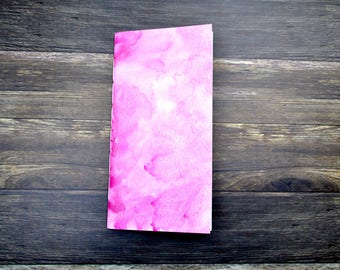 Pink Shimmer Watercolor Travelers Notebook Insert - Midori Insert - TN Insert - Various Sizes - Various Paper Choices - Planning Insert