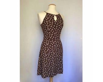 90's Cacharel dress / floral dress / spaghetti strap dress / mock halter / floral print / halter style / fitted dress / short dress