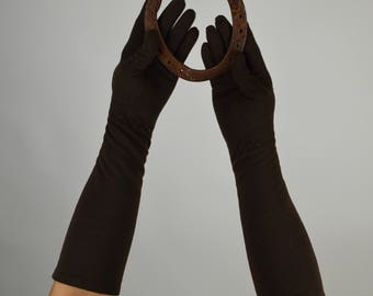 Brown Gloves, Cocktail Gloves, Half length, Long Gloves, Fall Gloves, Cotton Gloves,  Vintage Gloves, 50s Gloves,
