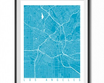 LOS ANGELES Map Art Print / California Poster / Los Angeles Wall Art Decor / Choose Size and Color