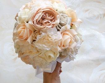 Pink peonies bridal bouquet, wedding flowers, wedding bouquet, artificial flowers, silk flowers, shabby chic, boho chic, rustic wedding