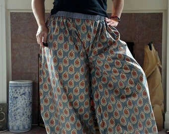 Red and Grey Paisley Cotton Fabric Pantaloons with Metalic Gold Foil Accents
