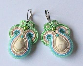 Soutache Earrings Cream - Mint