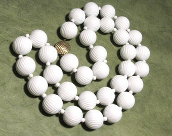 Vintage Monet Heavy White Corrugated Plastic Bead Necklace