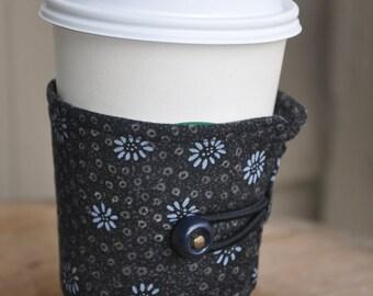 Steel Gray Daisy Fabric Print for your Java or Tea Wrap Around Sleeve/Coffee Cup Cozy/Reusable/Mug Cozy