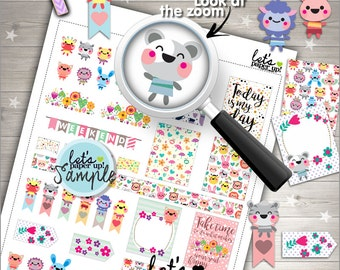 60%OFF - Stickers Set, Printable Planner Stickers, Weekly Stickers, Animal Stickers, Planner Accessories, Life Quotes, Happiness, Pack